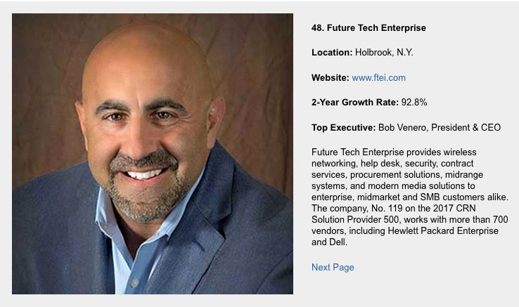 Futute Tech #48 on CRN Fast Growth 150 for 2017